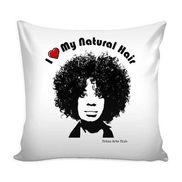 """I Heart My Natural Hair"" Pillow Cover 16"""