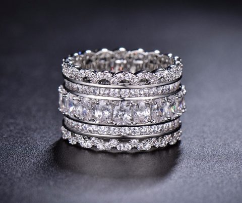 Royal Bling Crown Ring With Sparkling CZ