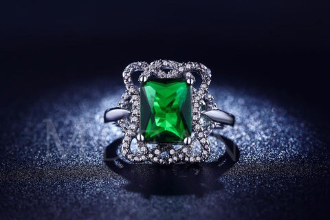 White Gold Plated Ring With Luxury Green Gem