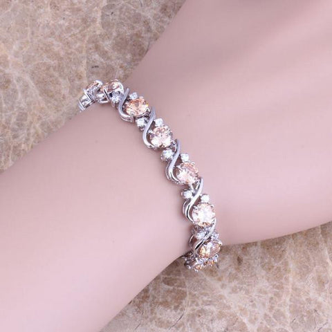 Solid 925 Sterling Silver Overlay Link Chain Bracelet With Gold Tone Stones