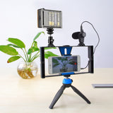 Complete Mobile Filmmaking Kit- Tripod, Mobile Phone Stabilizer, LED Studio Light, Shotgun Microphone, Adapter Cables, & More