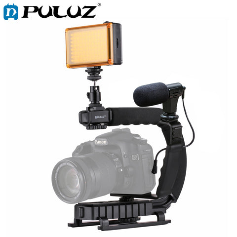 Complete Mobile Filmmaking Kit- U Bracket Stabilizer, LED Studio Light, Shotgun Microphone, Adapter Cables, & More