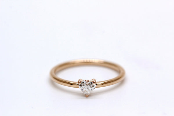 18K Rose Gold 0.20ct Heart Shape Diamond Stackable Ring