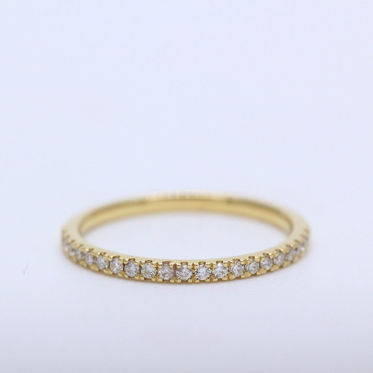 carat diamond f eternity bands anniversary yellow ring band half gold wedding stackable handmade