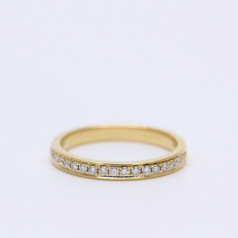18K Yellow Gold Channel Set Diamond Band