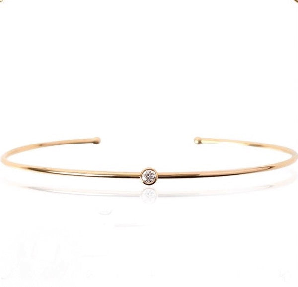 18K Bezel Diamond Bangle