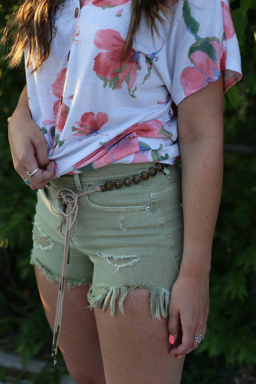 Olive Distressed Shorts