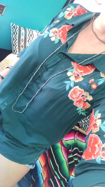 Emerald Embroidered Button Down
