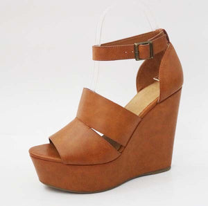 "The ""Jenni"" Open Toe Camel Wedge"