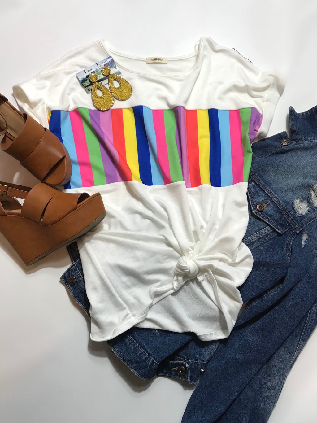 Rainbow Striped Cuff Sleeve Tee