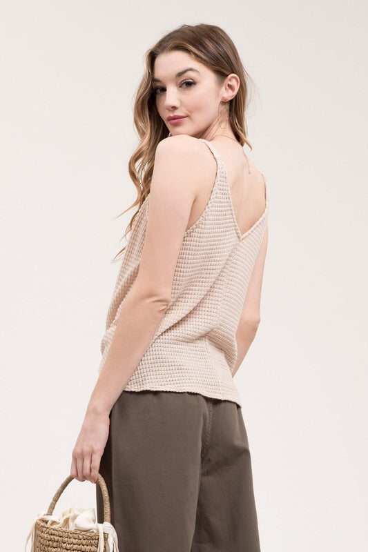 Natural Knotted Sleeveless Knit Top