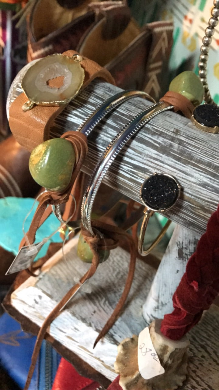 Stone & Leather Bangle Bracelet