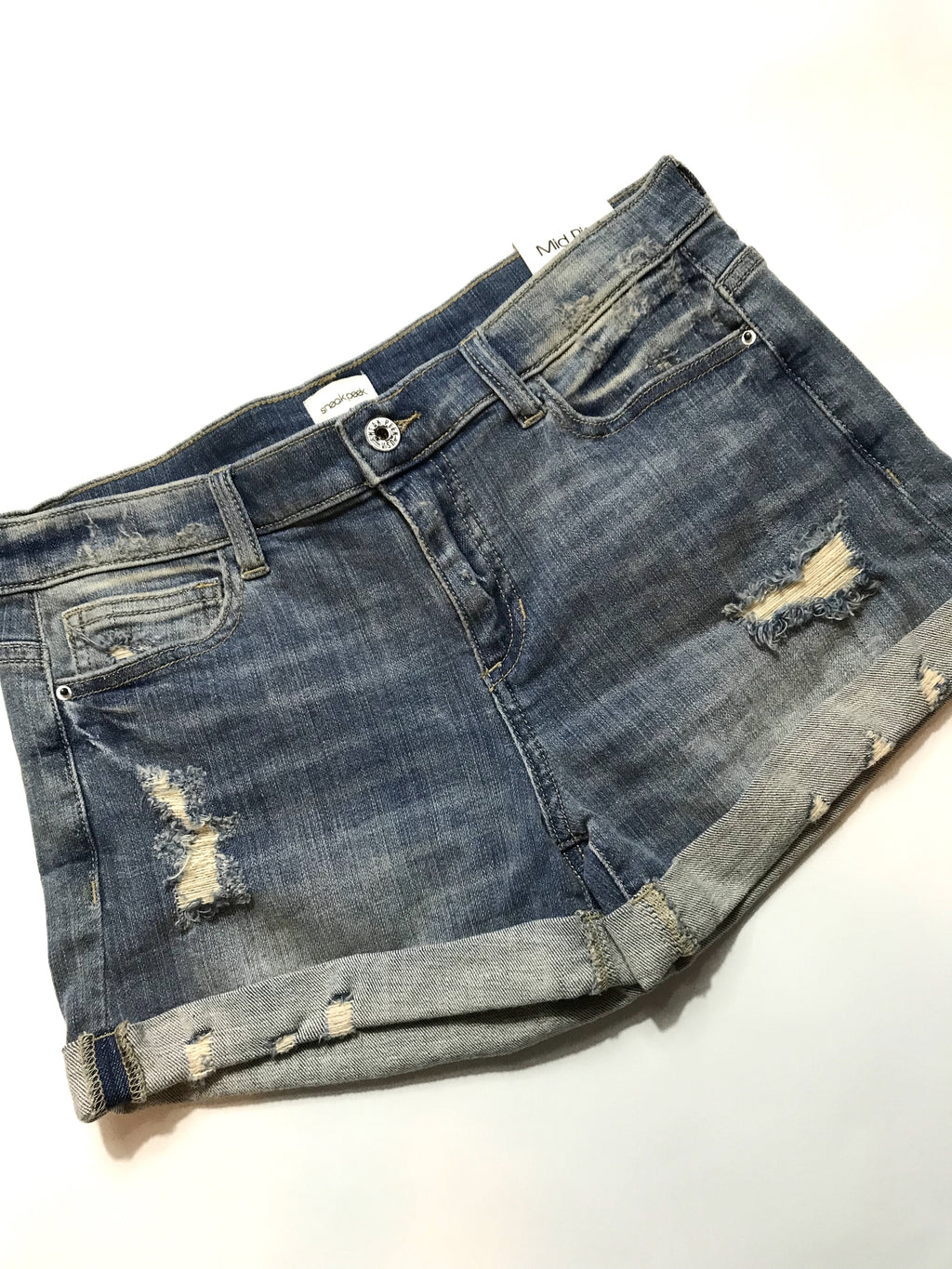 Distressed Mid Rise Denim Boyfriend Cuff Shorts