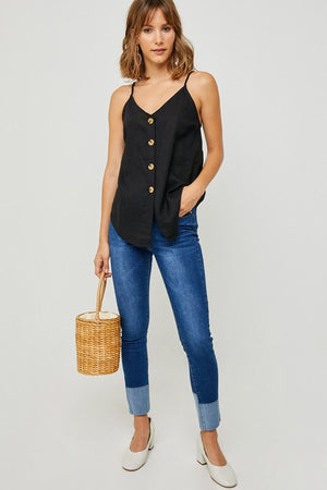 "The ""Hayden"" Black Linen Button-Down Tank"