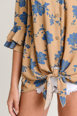Caramel Floral Off The Shoulder Top