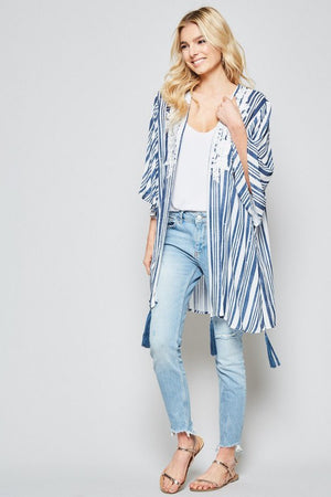 "The ""Danni"" Embroidered Striped Kimono"