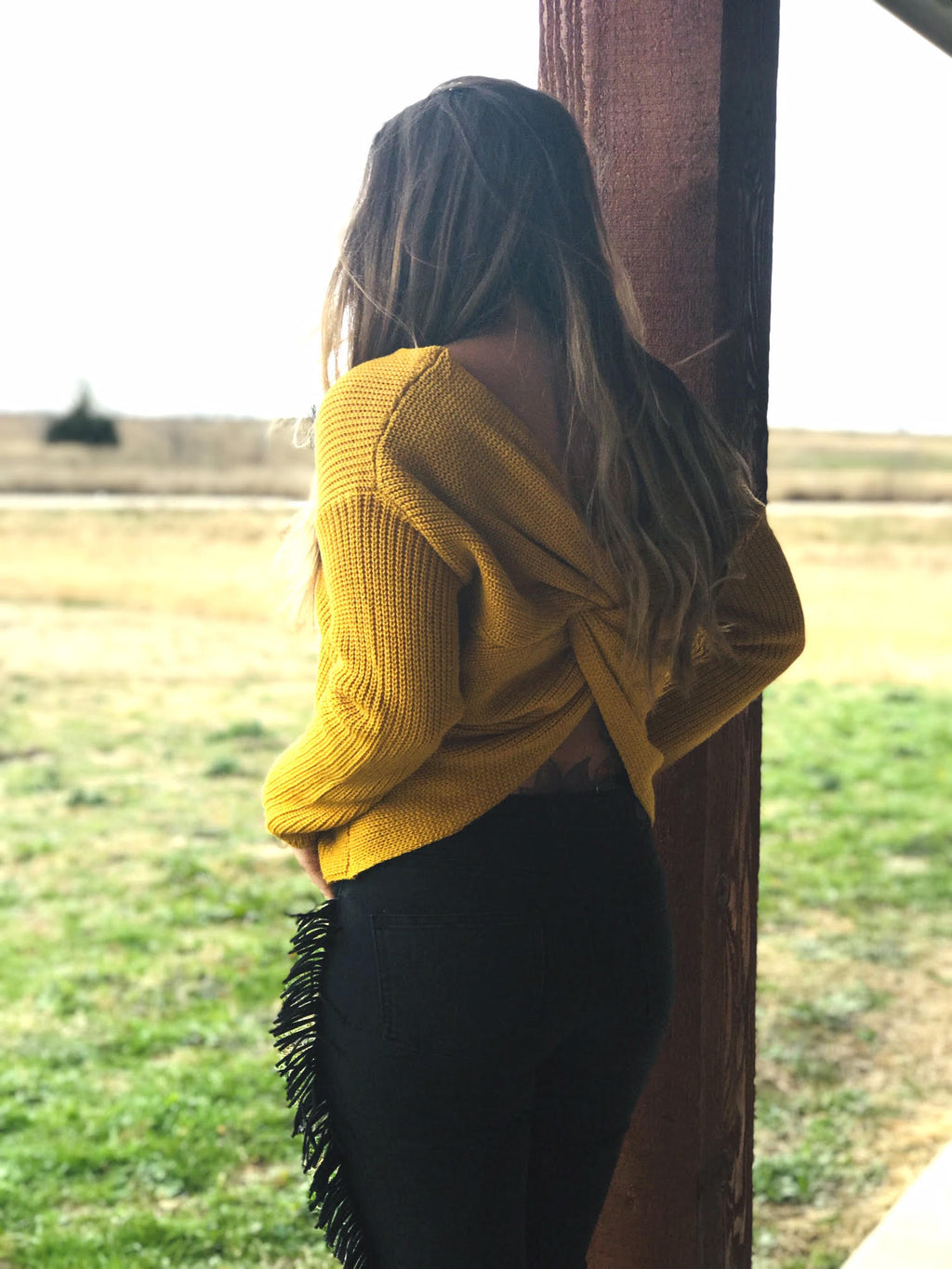 Mustard Twist Top Sweater