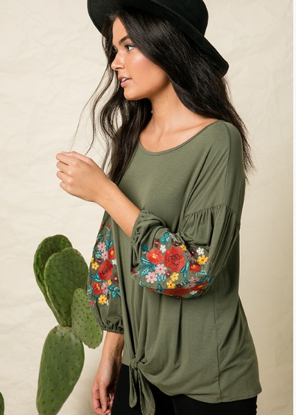 Olive Embroidered Balloon Sleeve Top