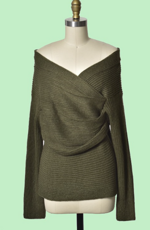 Olive Wrap Front Sweater