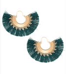 Teal Fringe Fan Earring