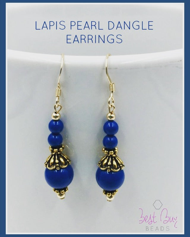 Lapis Pearl Dangle Earrings