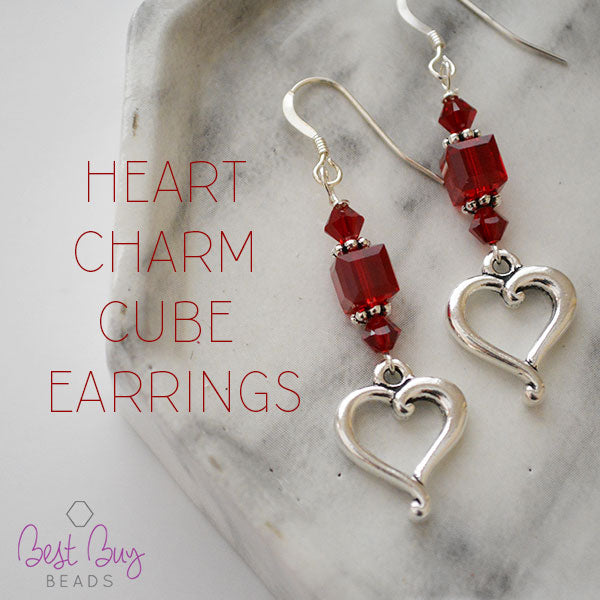 Heart Charm Cube Earrings