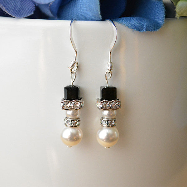 Swarovski Pearl Snowman Earrings