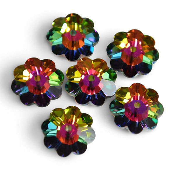 3700-x10-vm Swarovski Crystal 10mm Marguerite Lochrose (Flower) Vitrail Medium Spacer Beads (Package of 6 Beads)