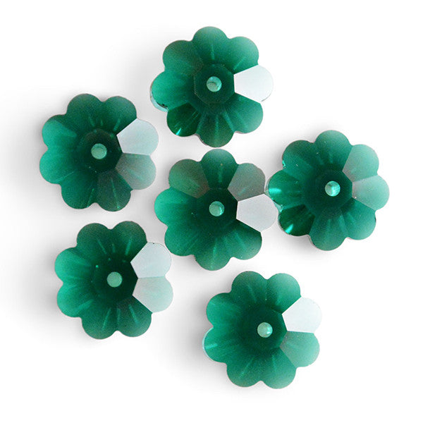 3700-x10-em Swarovski Crystal 10mm Marguerite Lochrose (Flower) Emerald Spacer Beads (Package of 6 Beads)