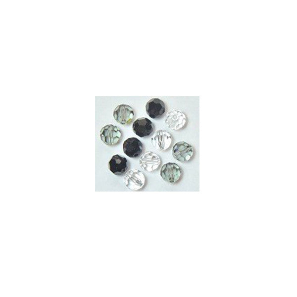 5000-6-mix-gray Swarovski Crystal 6mm Round Bead Mix (02) - Shades of Gray (Package of 12 Beads)