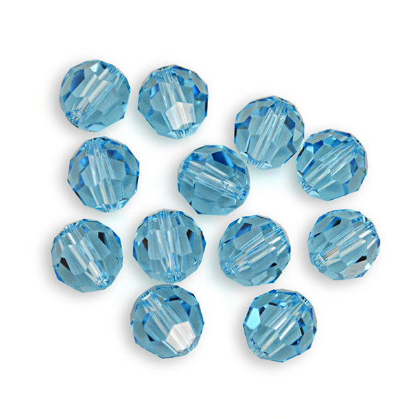 5000-6-aq Swarovski Crystal 6mm Round Aquamarine Beads (Package of 12 Beads)