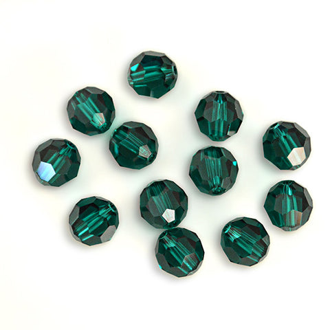 5000-8-em Swarovski Crystal 8mm Round Emerald Beads (Package of 12 Beads)