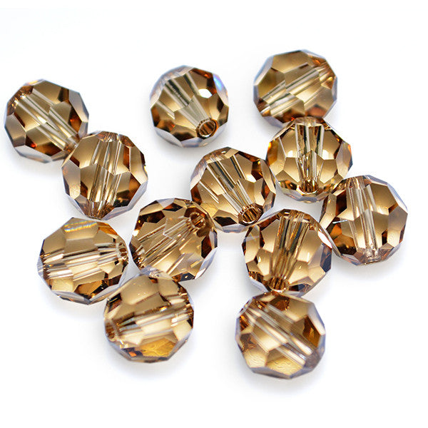 5000-8-lct Swarovski Crystal 8mm Round Light Colorado Topaz Beads (Package of 12 Beads)
