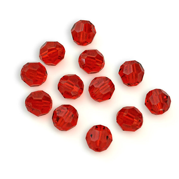 5000-6-sil Swarovski Crystal 6mm Round Light Siam Beads (Package of 12 Beads)