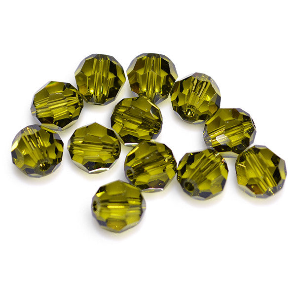 5000-6-ol Swarovski Crystal 6mm Round Olivine Beads (Package of 12 Beads)