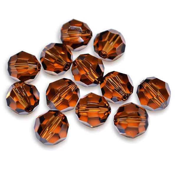 5000-8-st Swarovski Crystal 8mm Round Smoked Topaz Beads (Package of 12 Beads)