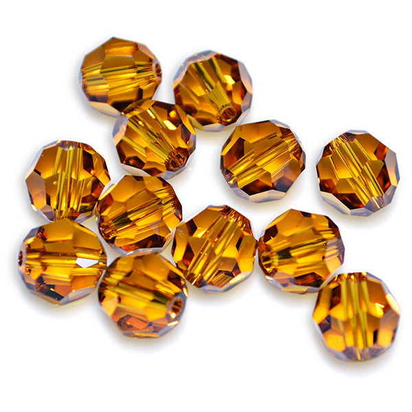 5000-6-to Swarovski Crystal 6mm Round Topaz Beads (Package of 12 Beads)