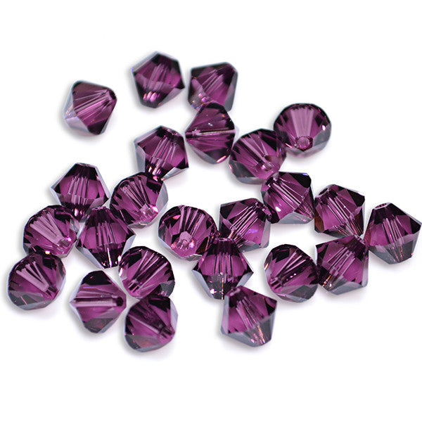 5301 / 5328-6-am Swarovski Crystal 6mm Bicone Amethyst Beads (Package of 24 Beads)