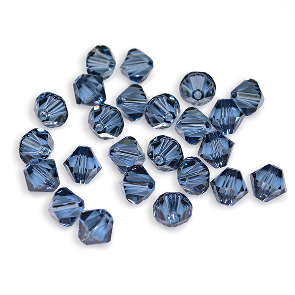 5301 / 5328-6-db Swarovski Crystal 6mm Bicone Denim Blue Beads (Package of 24 Beads)