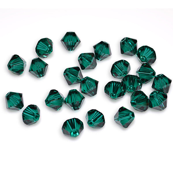 5301 / 5328-4-em Swarovski Crystal 4mm Bicone Emerald Beads (Package of 48 Beads)