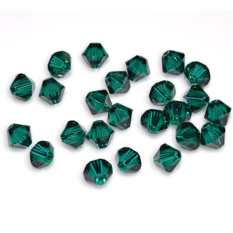 5301 / 5328-6-em Swarovski Crystal 6mm Bicone Emerald Beads (Package of 24 Beads)
