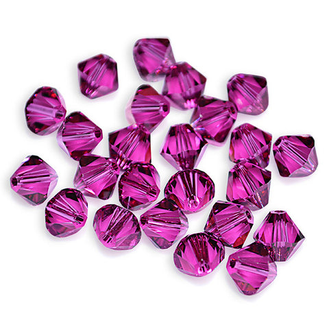 5301 / 5328-4-fu Swarovski Crystal 4mm Bicone Fuchsia Beads (Package of 48 Beads)