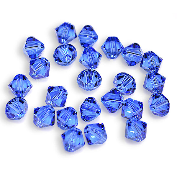 5301 / 5328-6-sa Swarovski Crystal 6mm Bicone Sapphire Beads (Package of 24 Beads)