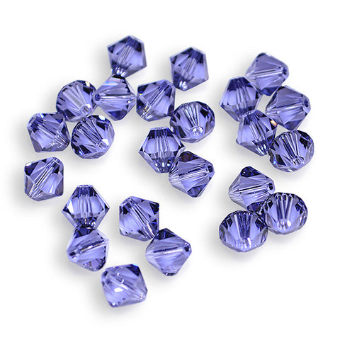 5301 / 5328-6-ta Swarovski Crystal 6mm Bicone Tanzanite Beads (Package of 24 Beads)