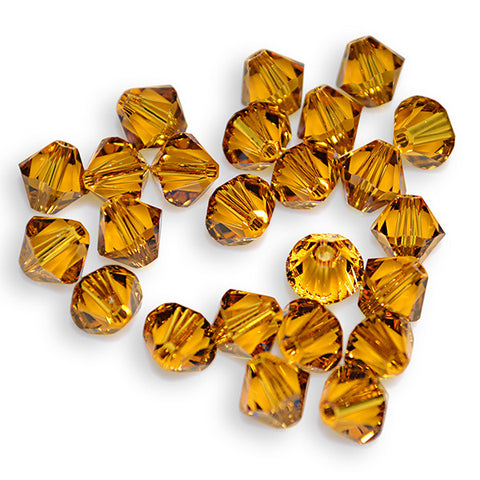 5301 / 5328-6-to Swarovski Crystal 6mm Bicone Topaz Beads (Package of 24 Beads)