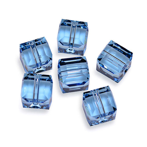 5601-4-aq Swarovski Crystal 4mm Aquamarine Cube Beads (Package of 12 Beads)