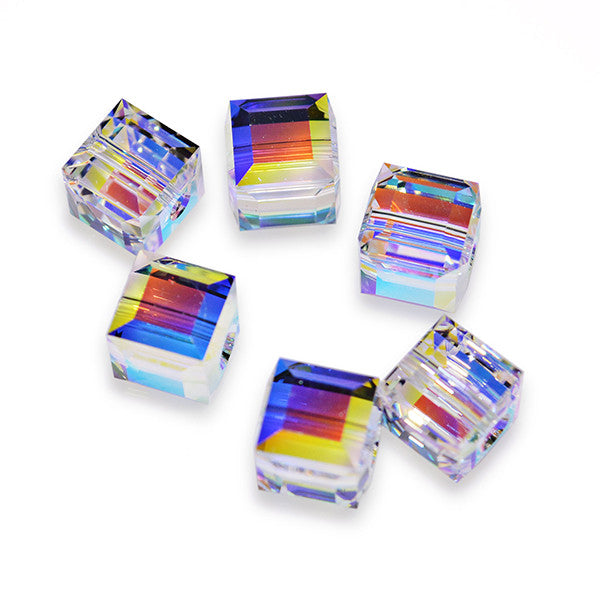 5601-6-cr-ab Swarovski Crystal 6mm Crystal AB Cube Beads (Package of 6 Beads)
