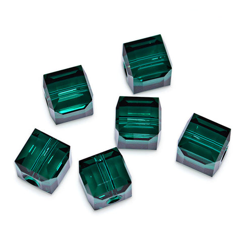5601-6-em Swarovski Crystal 6mm Emerald Cube Beads (Package of 6 Beads)