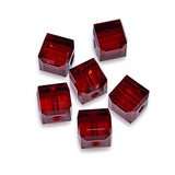 5601-6-si Swarovski Crystal 6mm Siam Cube Beads (Package of 6 Beads)