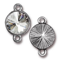 6833 TierraCast Plain Rivoli Link w/ 12mm Swarovski Crystal, Rhodium Plated (1 link)